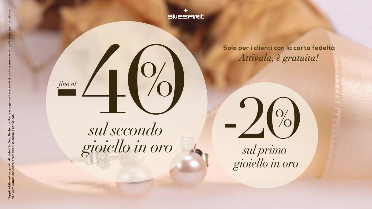 -40% sul secondo gioiello, -20% sul primo gioiello: | Promo | CremonaPo